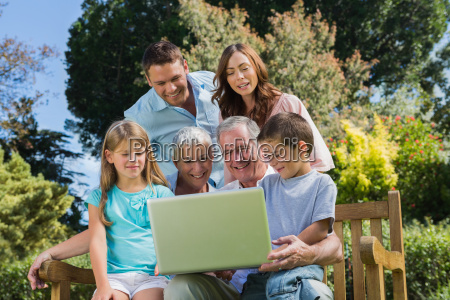 smiling multi generation family with a