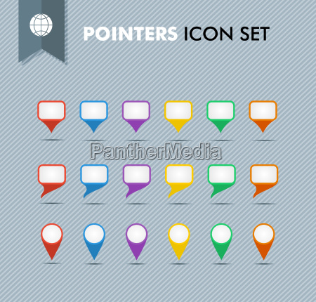 pointers and speech bubbles icons set
