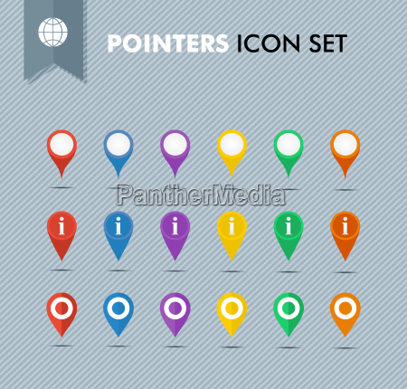 pointers icons set eps10 vector file