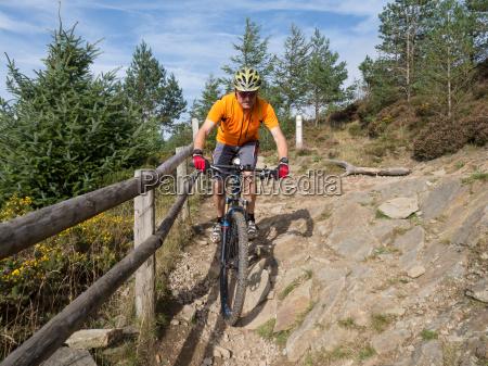 mountain biker riding trails in wales