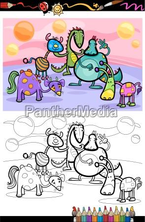 cartoon fantasy group coloring page