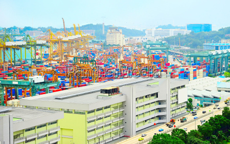 aerial view on singapore port
