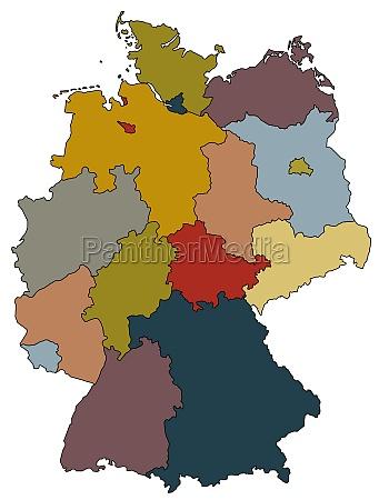 deutschlandkarte bundeslaender farbig