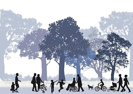 stadtpark mit personen und kinder