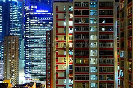 hong kong apartment block at night