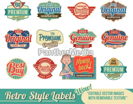 vintage retro labels and tags
