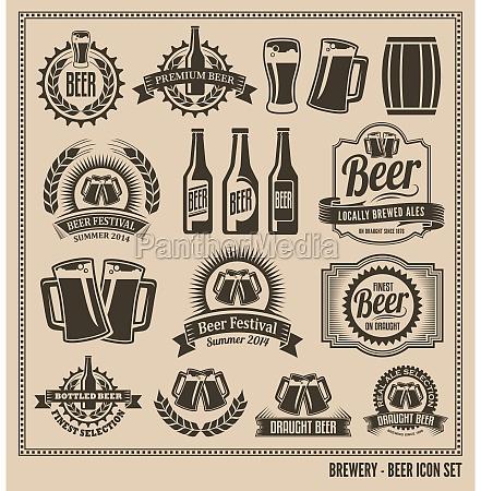 bier icon set etikettenposterschilderbannervektor design