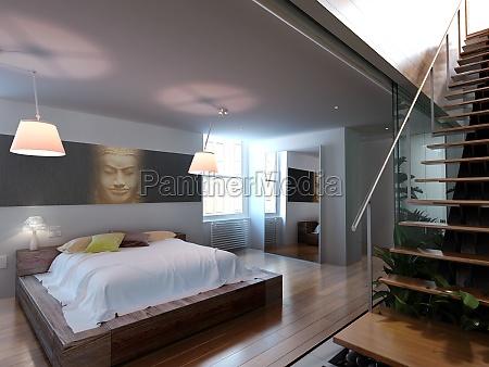 moderne galerie mit schlafzimmer