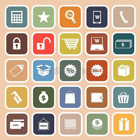 shopping flat icon on orange background