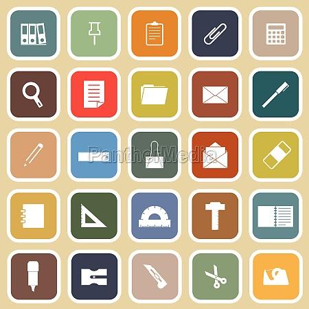 stationary flat icons on yellow background