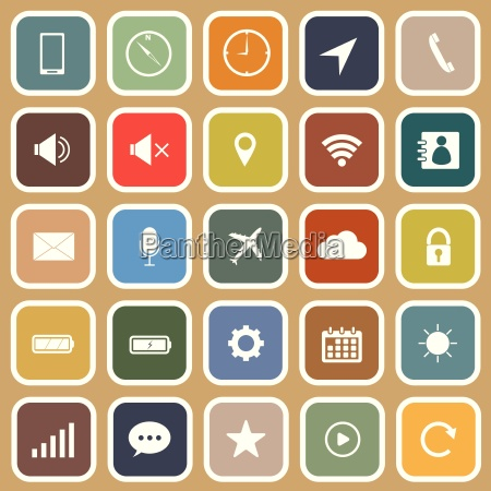mobile phone flat icons on brown