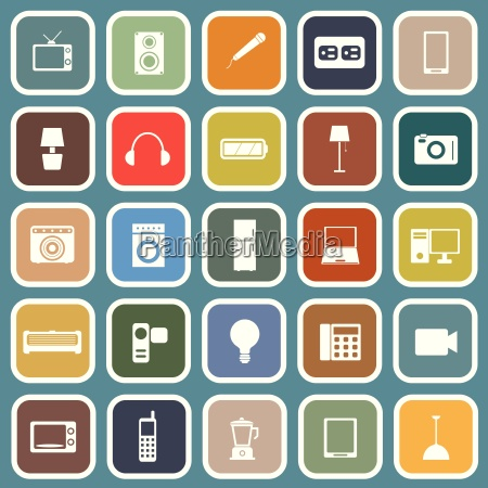 electrical machine flat icons on blue