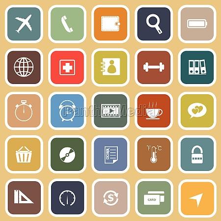 application flat icons on orange background