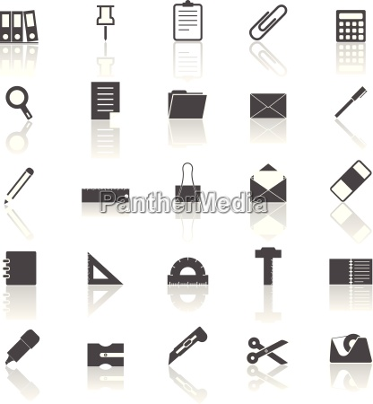 stationary icons with reflect on white