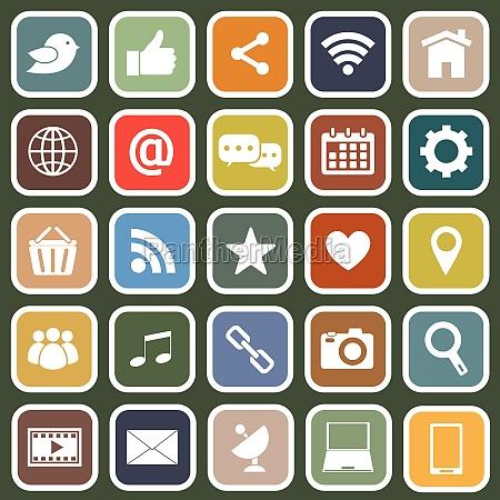 social media flat icons on green