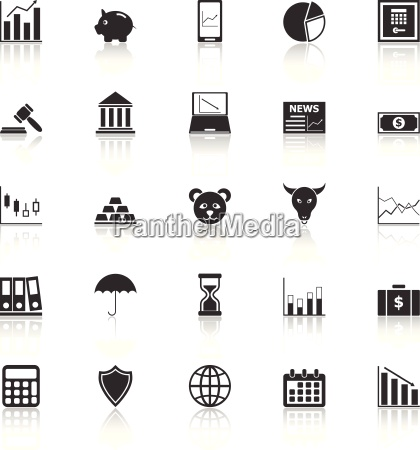 stock market icons with reflect on