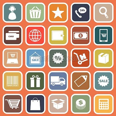 e commerce flat icons on orange