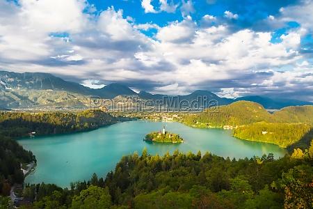 lake bled in julian alps slovenia