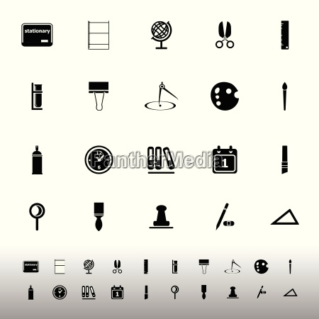 general stationary icons on white background