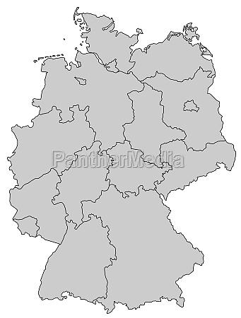 deutschlandkarte bundeslaender grau