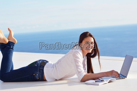 relaxed young womant at home