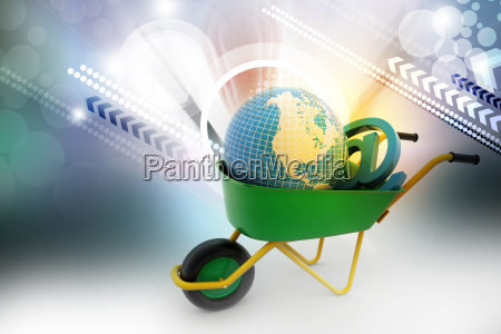 wheelbarrow carrying earth and email sign