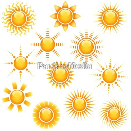 sun icon collection abstrakt illustrationenvektor