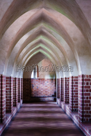 interior of old empty hall arch
