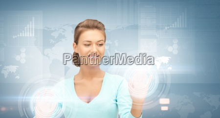 businesswoman working with virtual screens
