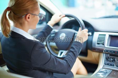 businesswoman driving