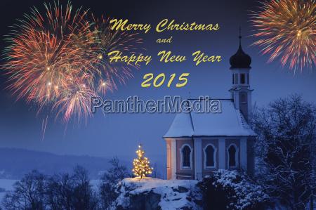 weihnachtskapelle und feuerwerk fuer neujahr 2015