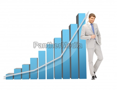 handsome businessman with big 3d chart