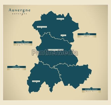 moderne landkarte auvergne fr