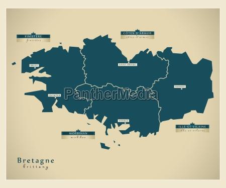 moderne landkarte bretagne fr