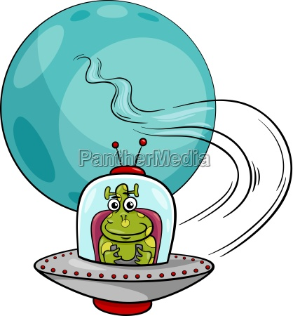 alien in ufo cartoon illustration