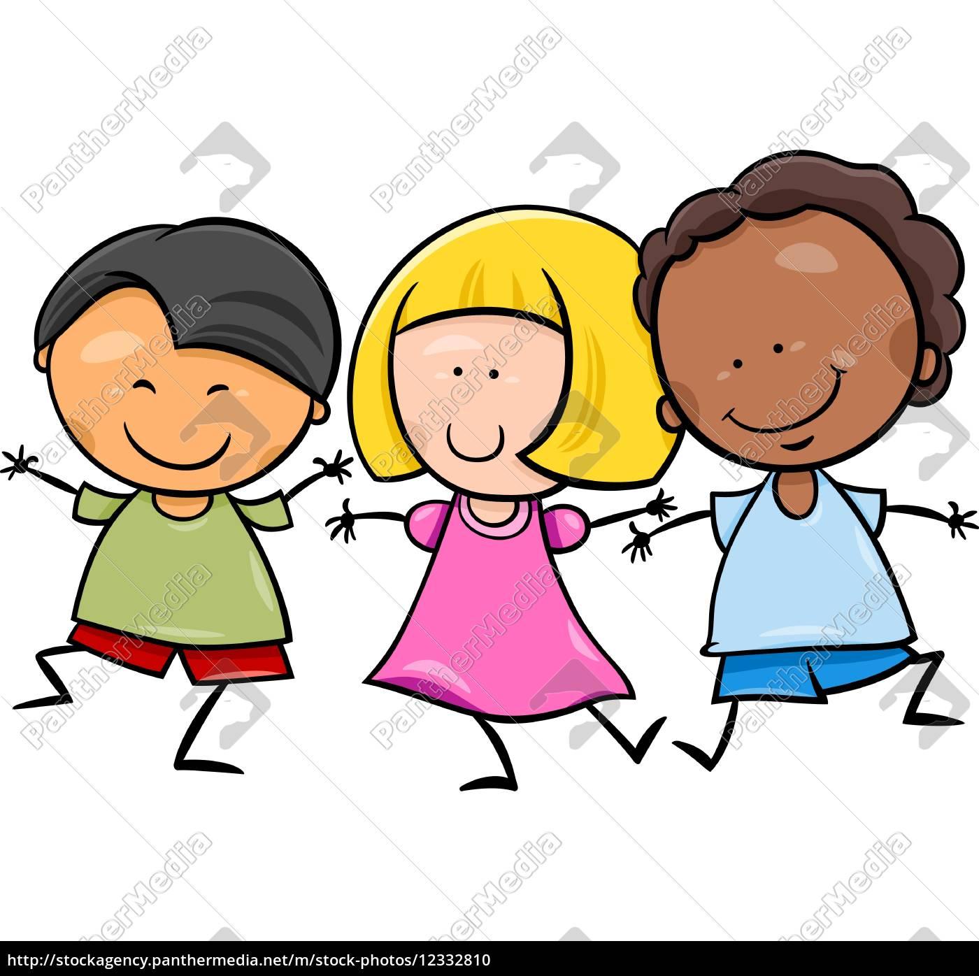 multikulturell, kinder, cartoon-illustration - 12332810