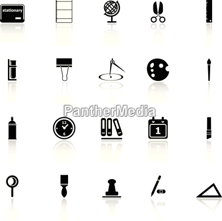 general stationary icons with reflect on
