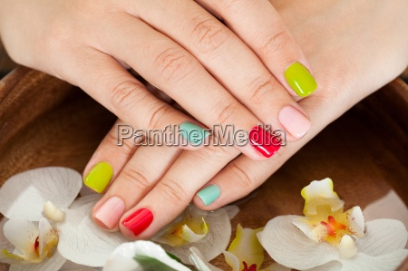 female nail with petal