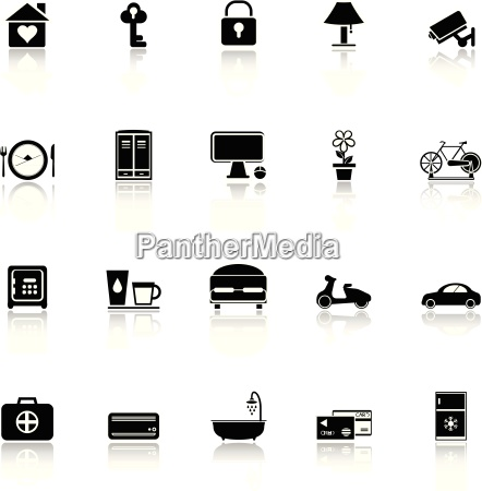 general home stay icons with reflect