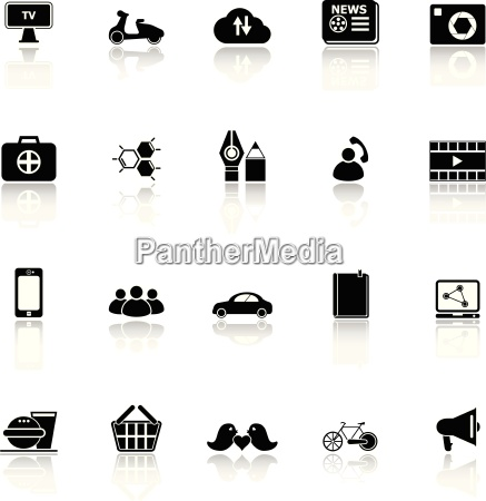 social network icons with reflect on