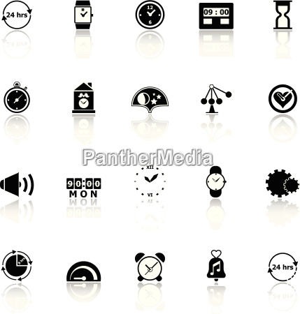 time related icons with reflect on