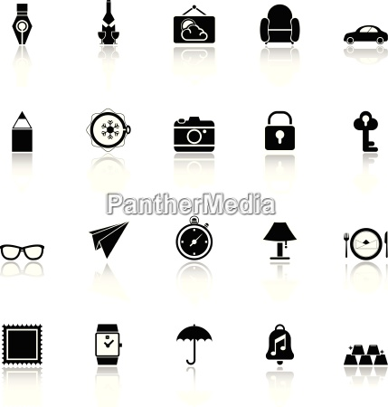 vintage collection icons with reflect on