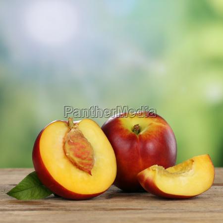 nektarinen fruechte im sommer mit textfreiraum
