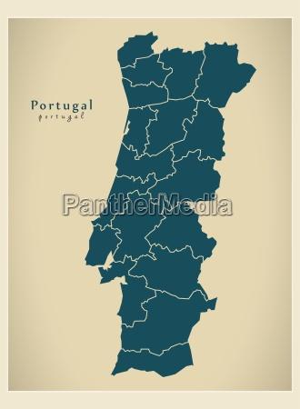 moderne, landkarte, -, portugal, districts, pt - 12527972
