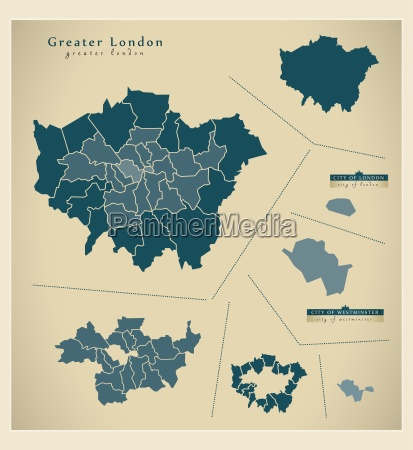 moderne landkarte greater london uk