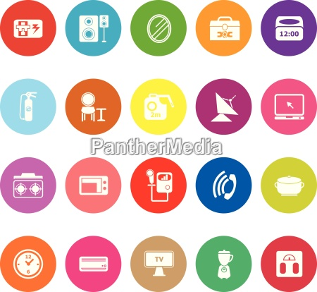 house related flat icons on white