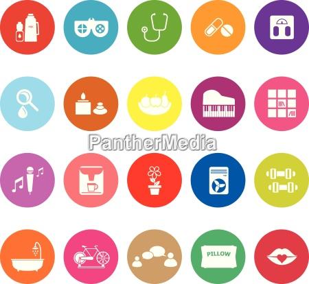 wellness flat icons on white background