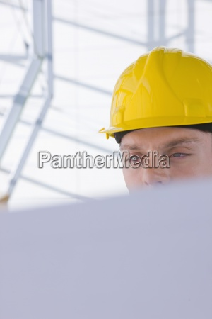 close up of architect in hard