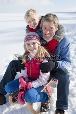 portrait of smiling father with daughter