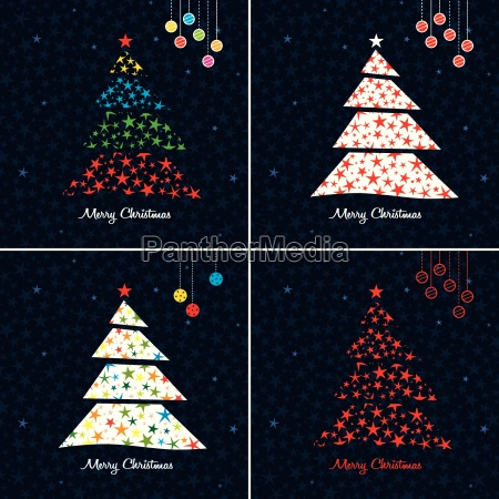 colorful christmas tree background set vector